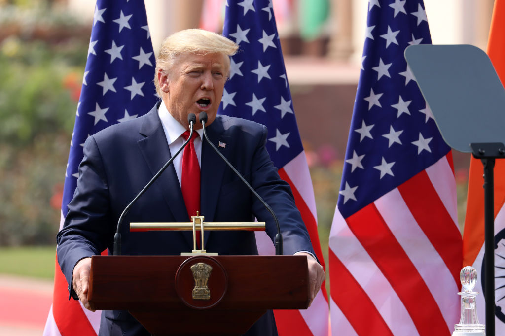 U.S President Donald Trump speaks during a news conference alongside Narendra Modi, India's prime minister, not pictured, at Hyderabad House in New Delhi, India, on Feb. 25, 2020.