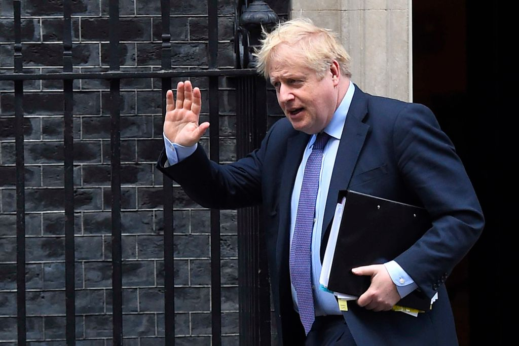 UK Prime Minister Boris Johnson leaves Downing Street for the House of Commons on February 12, 2020 in London, England.