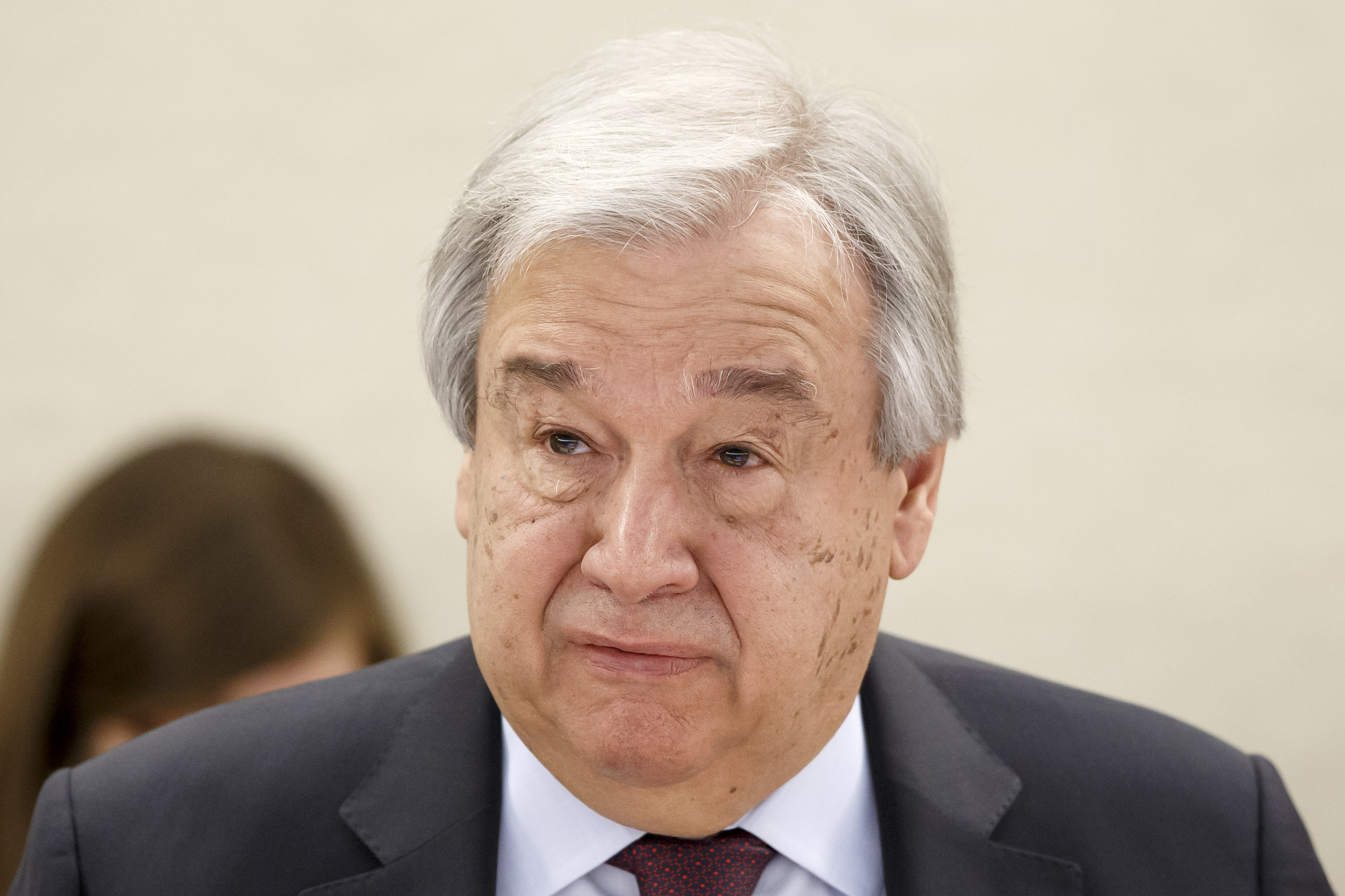 U.N. Secretary-General Antonio Guterres delivers a statement at the European headquarters of the United Nations in Geneva, Switzerland on Feb. 24, 2020.