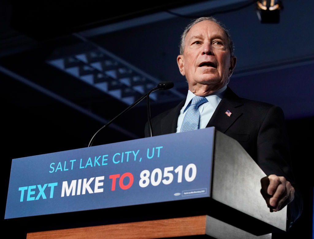 Democratic presidential candidate, former New York City mayor Mike Bloomberg speaks to supporters at a rally on February 20, 2020 in Salt Lake City, Utah.