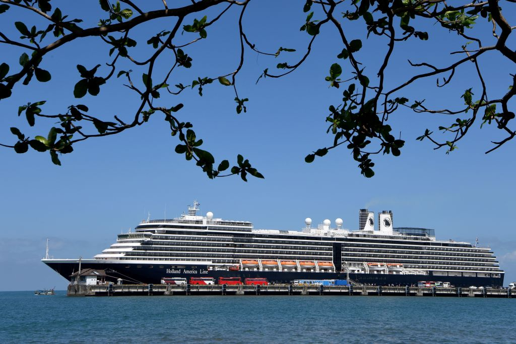 A general view of the Westerdam cruise ship docked at Sihanoukville port on February 15, 2020.