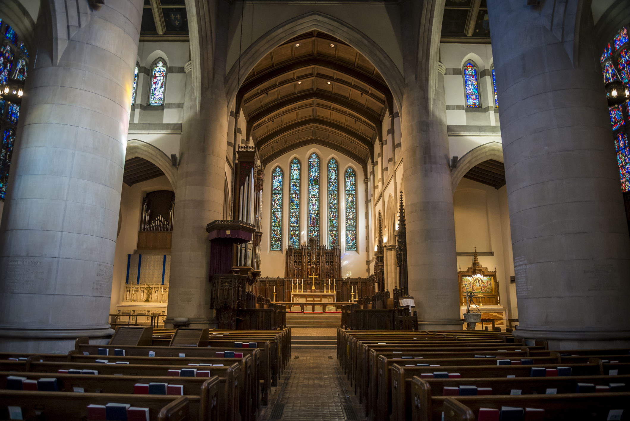 Interior of the Cathedral Church of St. Paul in Detroit, Michigan.