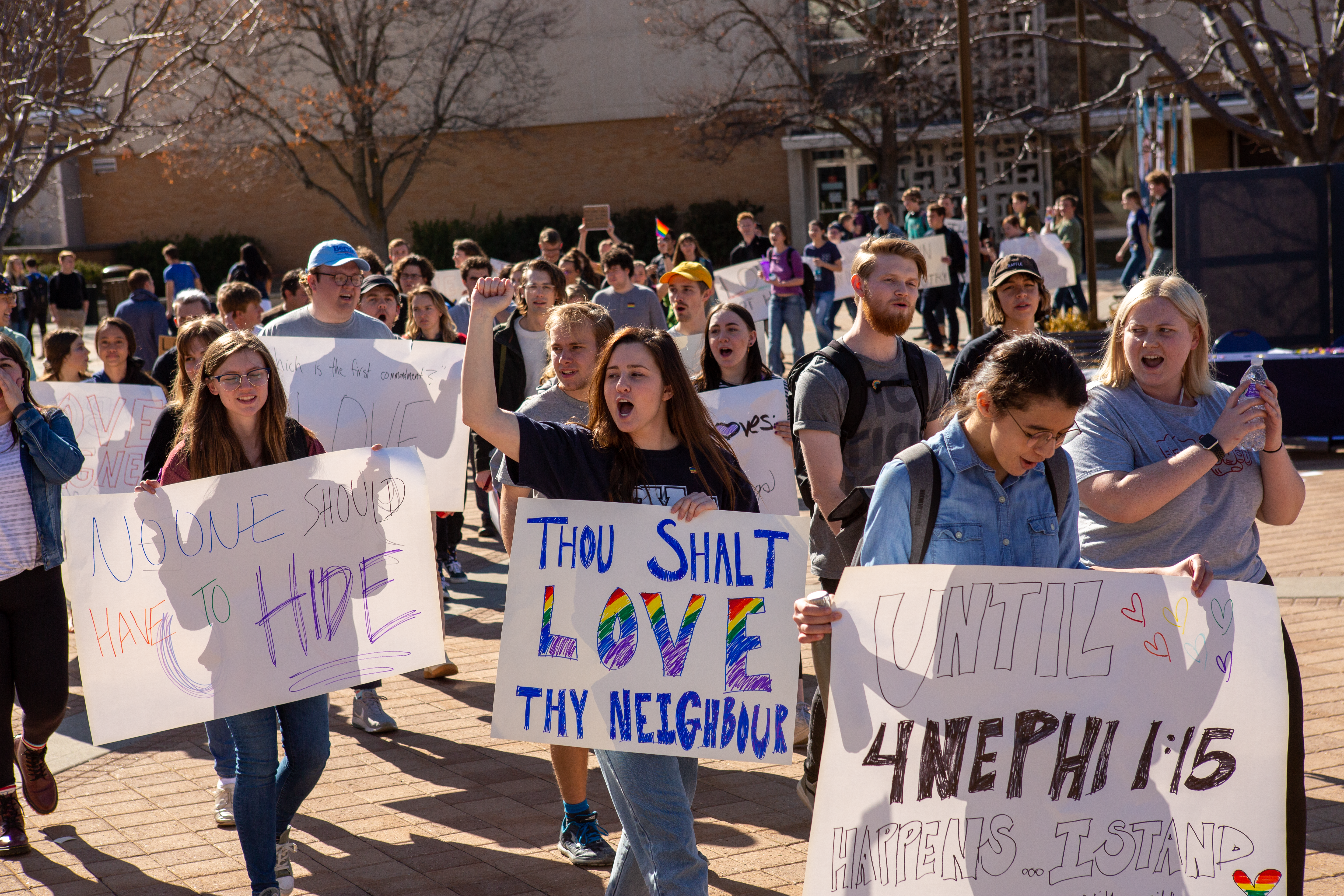 Brigham Young students protesting in Provo, Utah, on March 4.