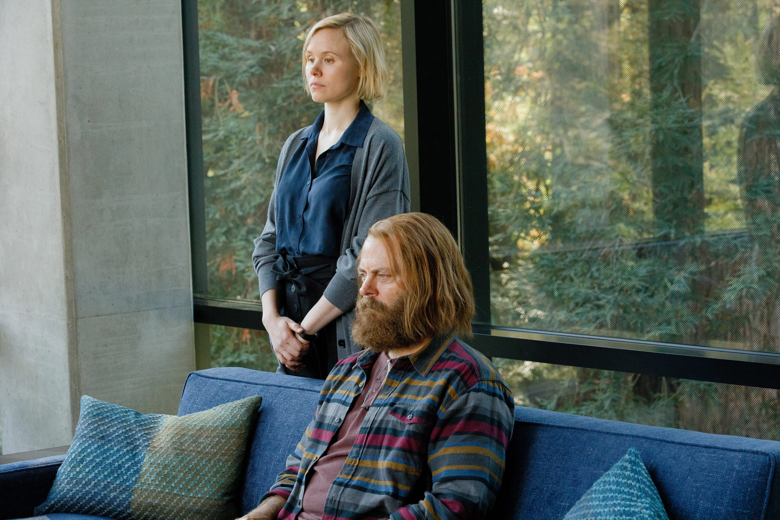 Alison Pill as Katie and Nick Offerman as Forest in 'Devs'