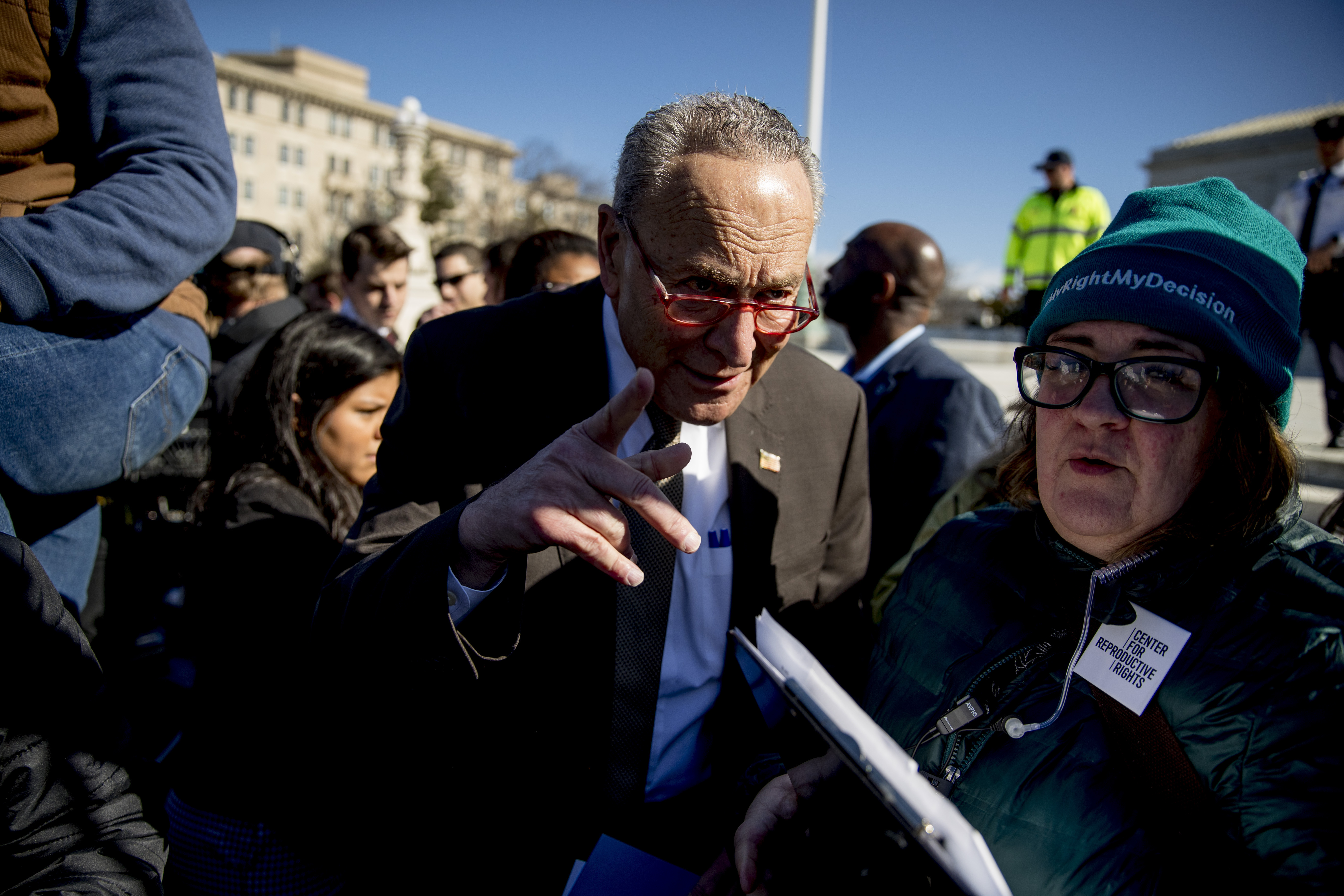 Senate Minority Leader Sen. Chuck Schumer of N.Y. arrives to speak to abortion rights demonstrators at a rally outside the Supreme Court, in Washington, on March 4, 2020.
