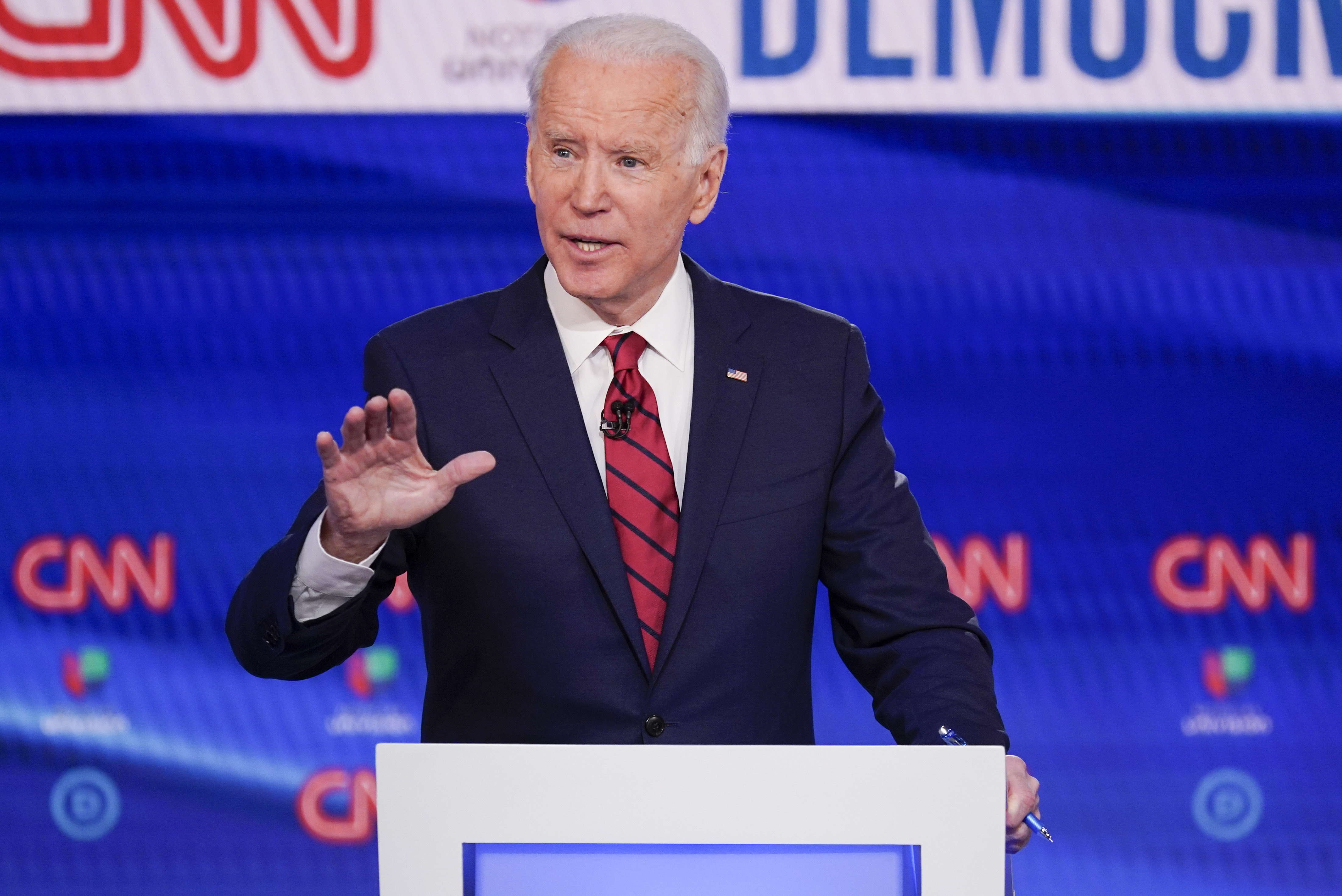 Former Vice President Joe Biden, participates in a Democratic presidential primary debate at CNN Studios in Washington, on March 15, 2020.