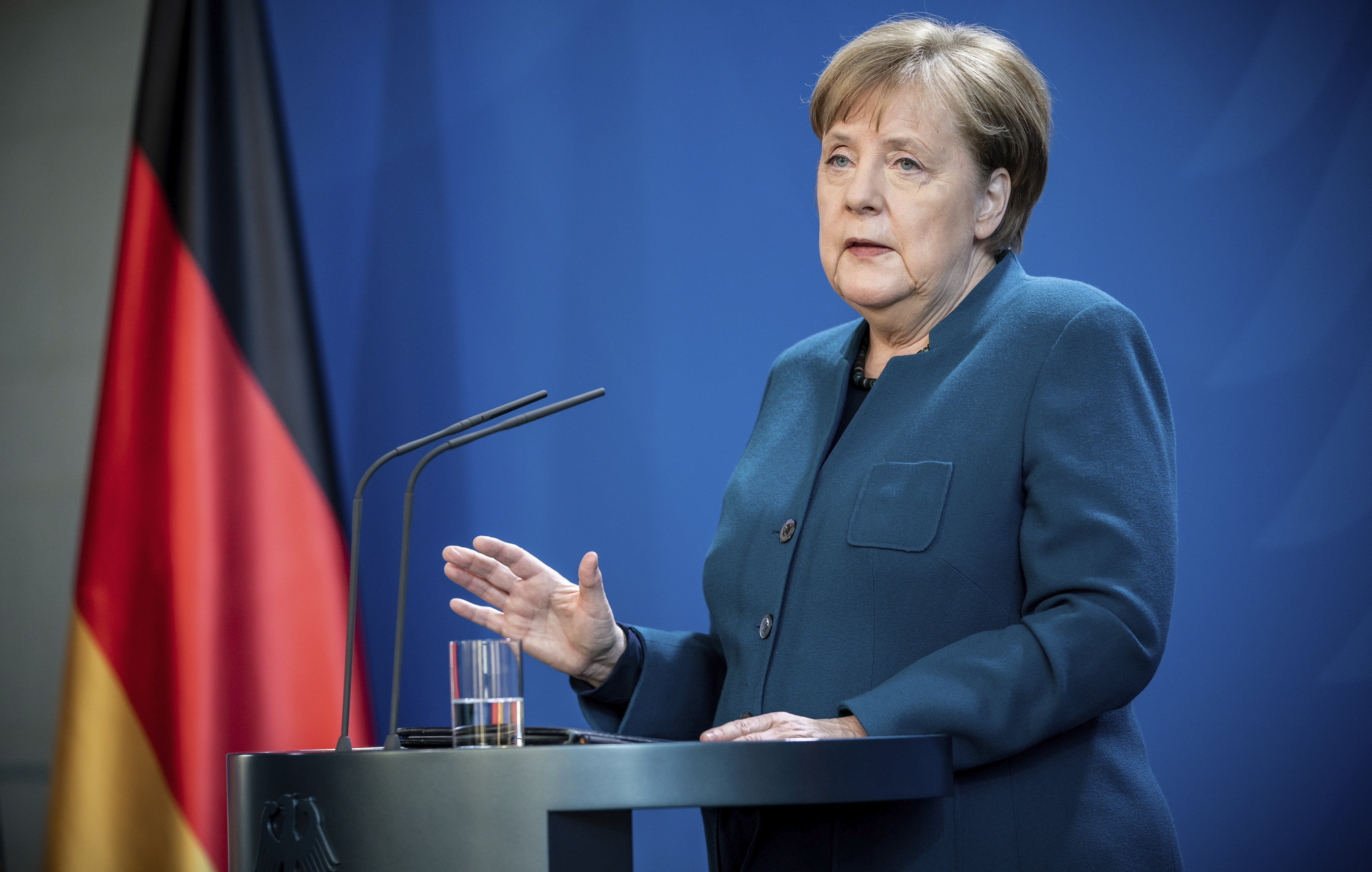 German Chancellor Angela Merkel speaks at a press conference about coronavirus, in Berlin, on March 22, 2020.