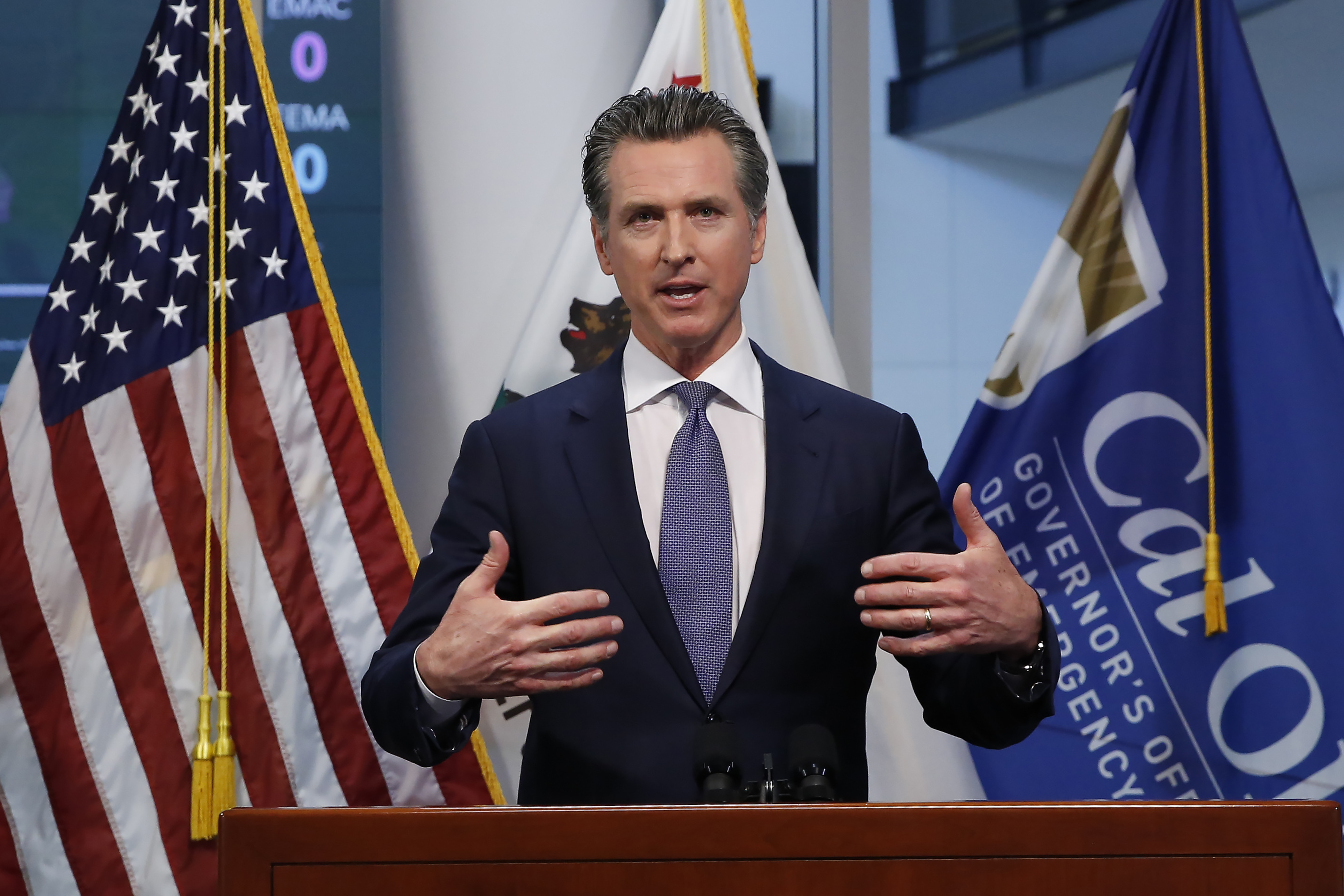 Gov. Gavin Newsom updates the state's response to the coronavirus at the Governor's Office of Emergency Services in Rancho Cordova, Calif., on March 23, 2020.