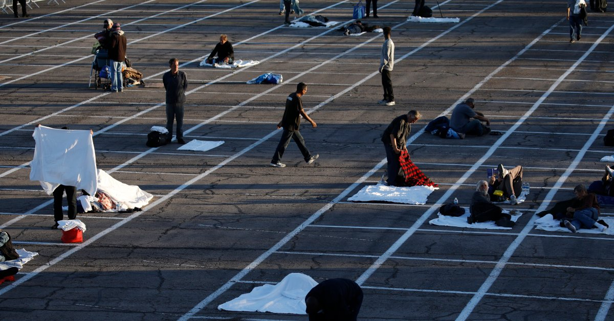 Las Vegas Placing Homeless Encampments in Parking Lots as Critics Point to Empty Hotels