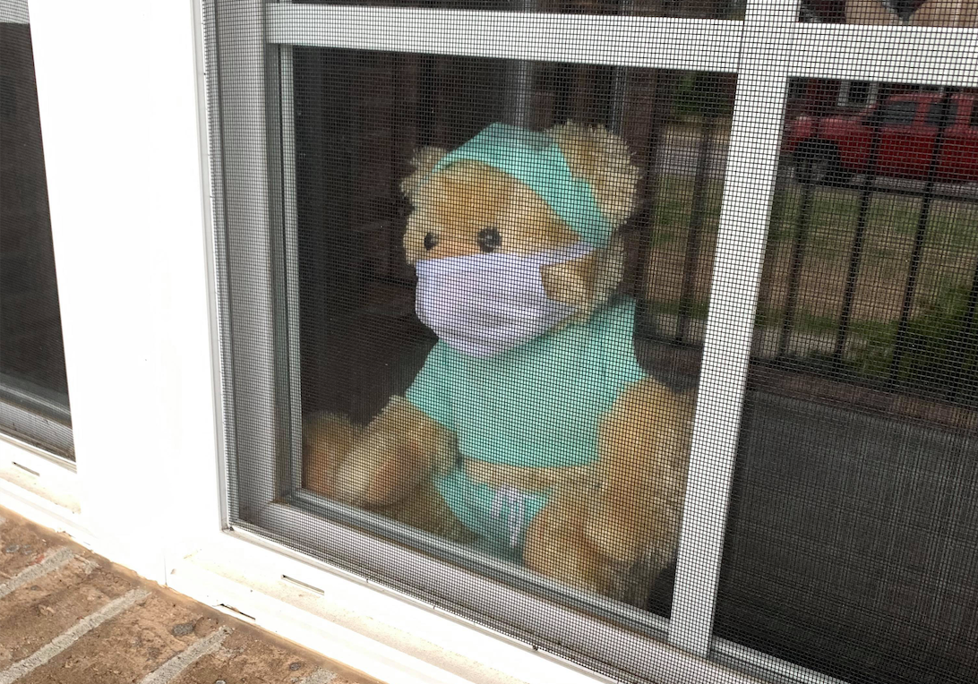 A teddy bear in the window of a home in Murfreesboro, Tenn.