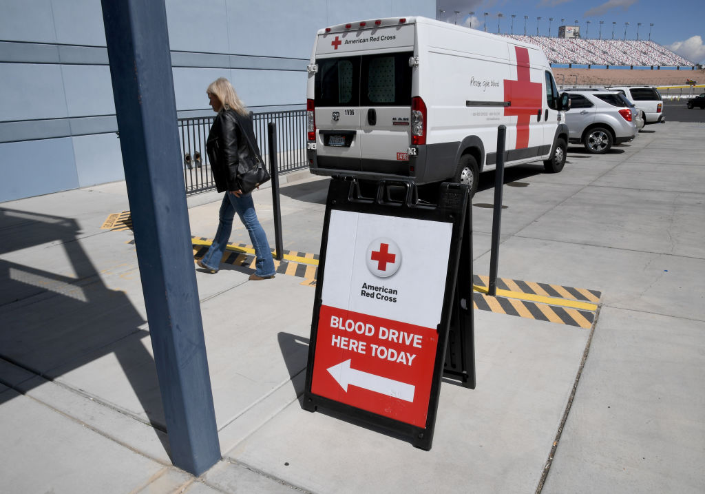 A woman arrives at an American Red Cross blood drive held to help alleviate a blood supply shortage as a result of the coronavirus pandemic at Las Vegas Motor Speedway on March 27 in Las Vegas, Nevada.