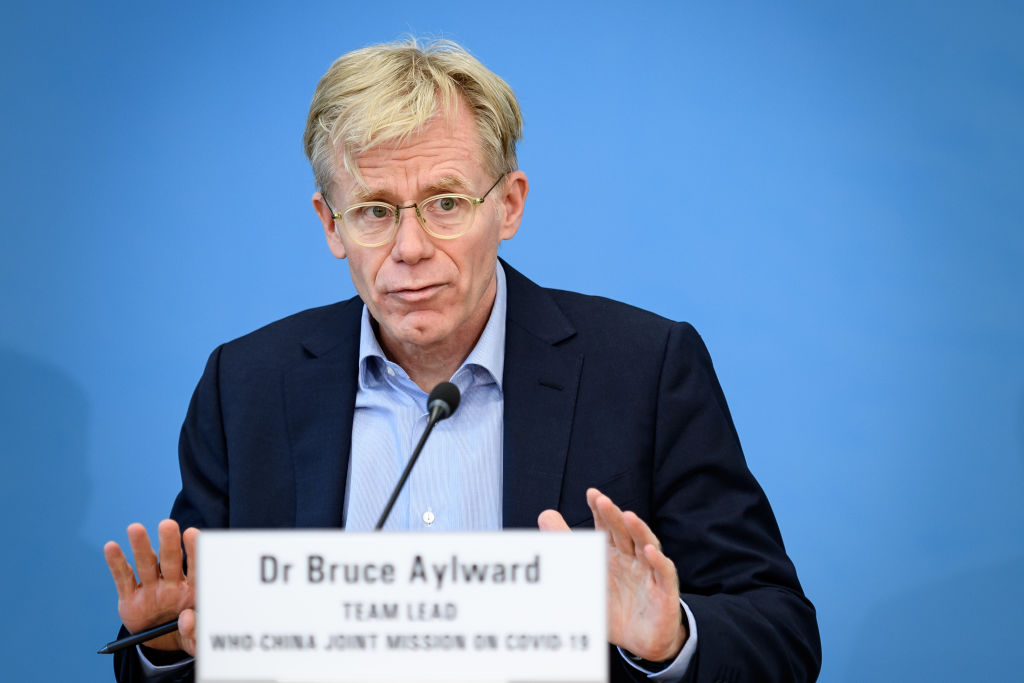 Team leader of the joint mission between World Health Organization (WHO) and China on COVID-19, Bruce Aylward gives a press conference at the WHO headquarters in Geneva on Feb. 25, 2020.