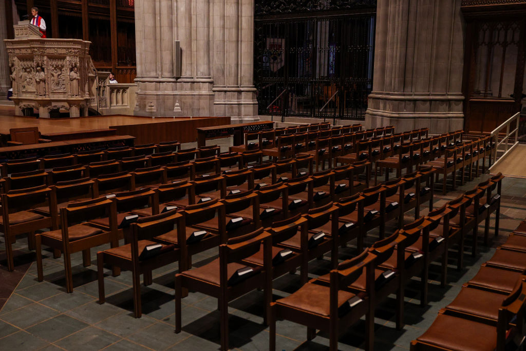 The Right Rev. Bishop Mariann Edgar Budde holds Sunday Mass as it is live-webcast to its parishioners due to the Coronavirus at an empty Washington National Cathedral on March 22, 2020 in Washington, DC.