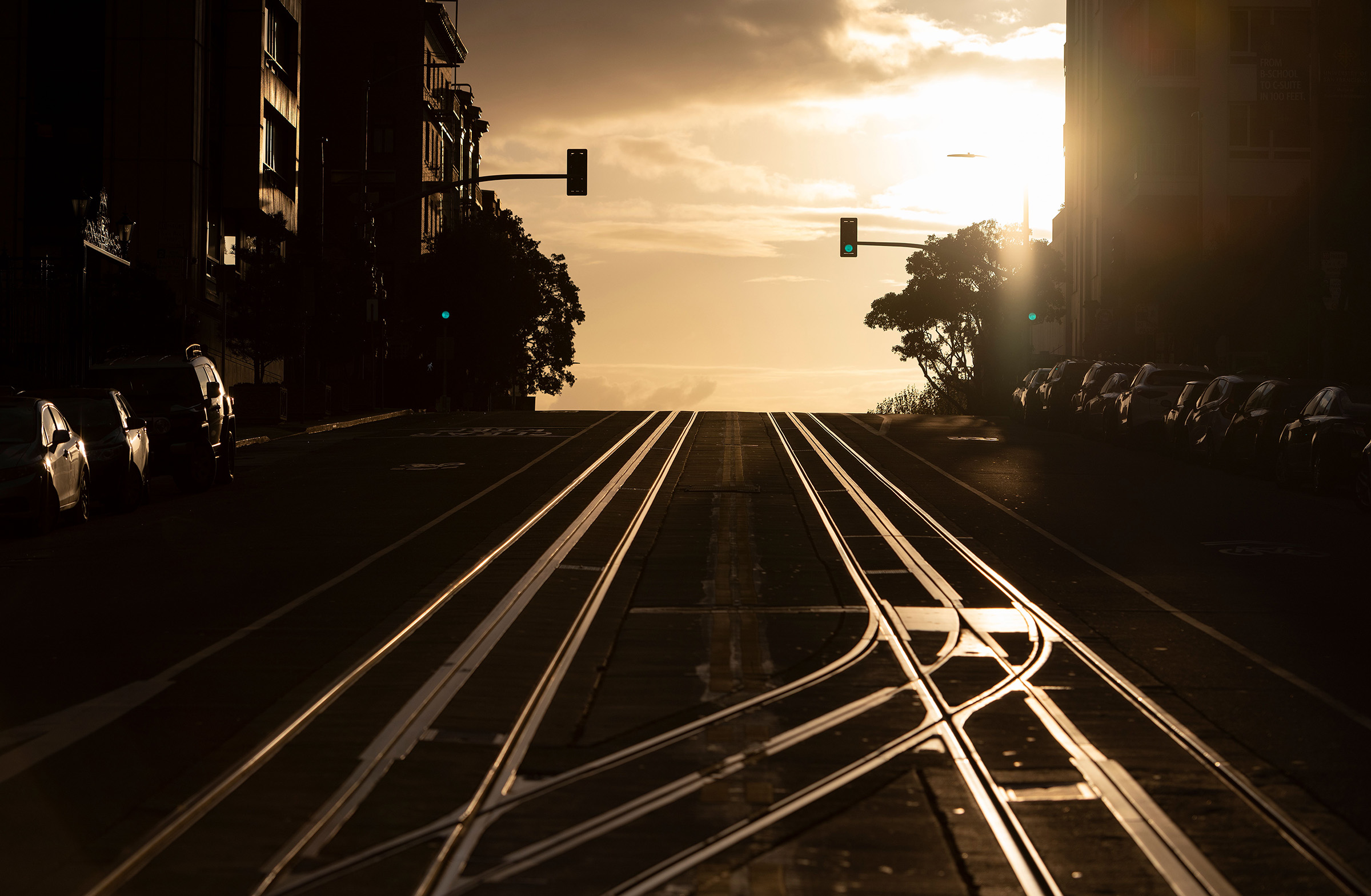 California Street, usually filled with cable cars, is seen empty in San Francisco on March 18, 2020.
