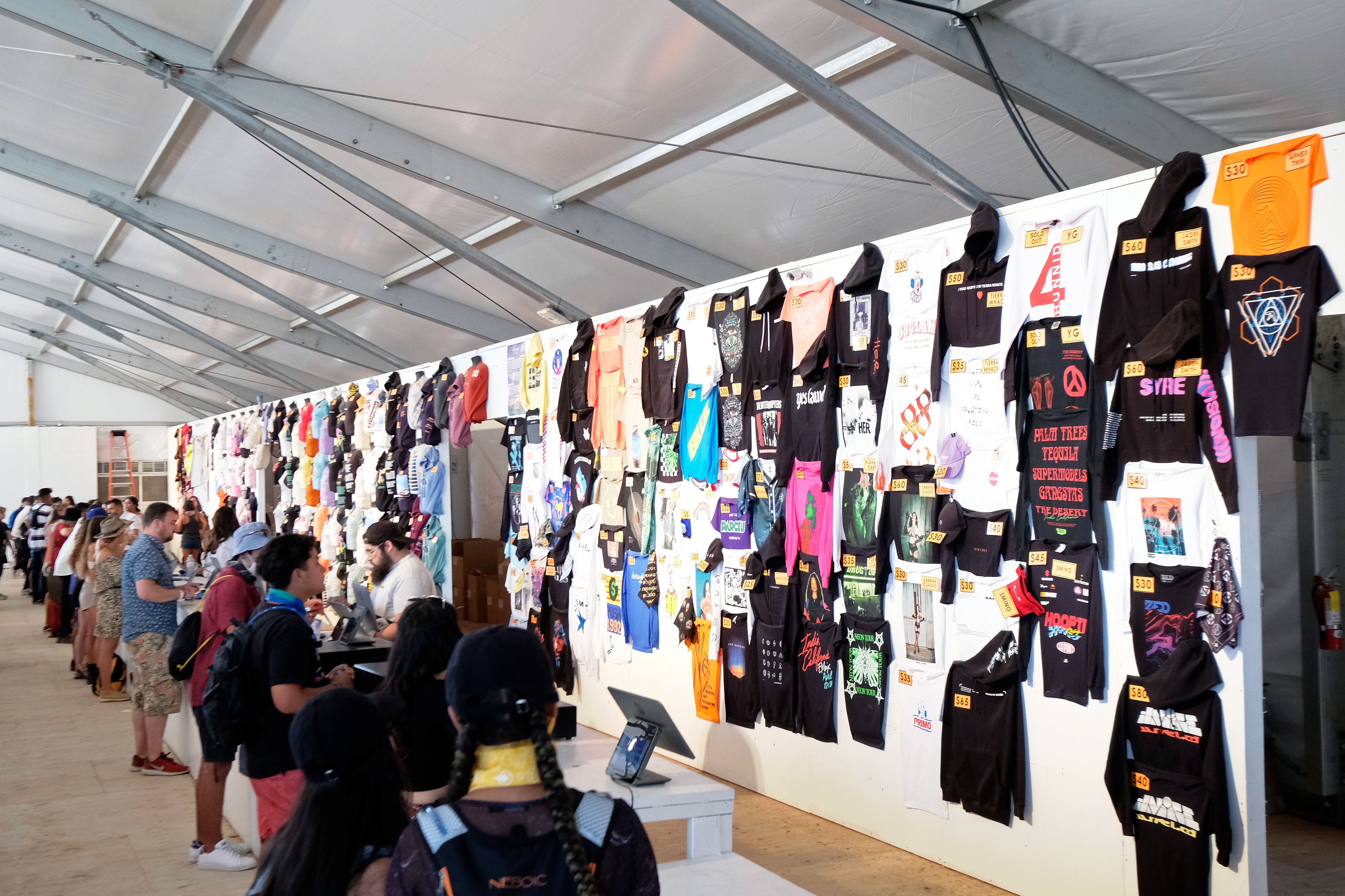 Festivalgoers at the Merchandise Tent during the 2019 Coachella Valley Music And Arts Festival in Indio, California.