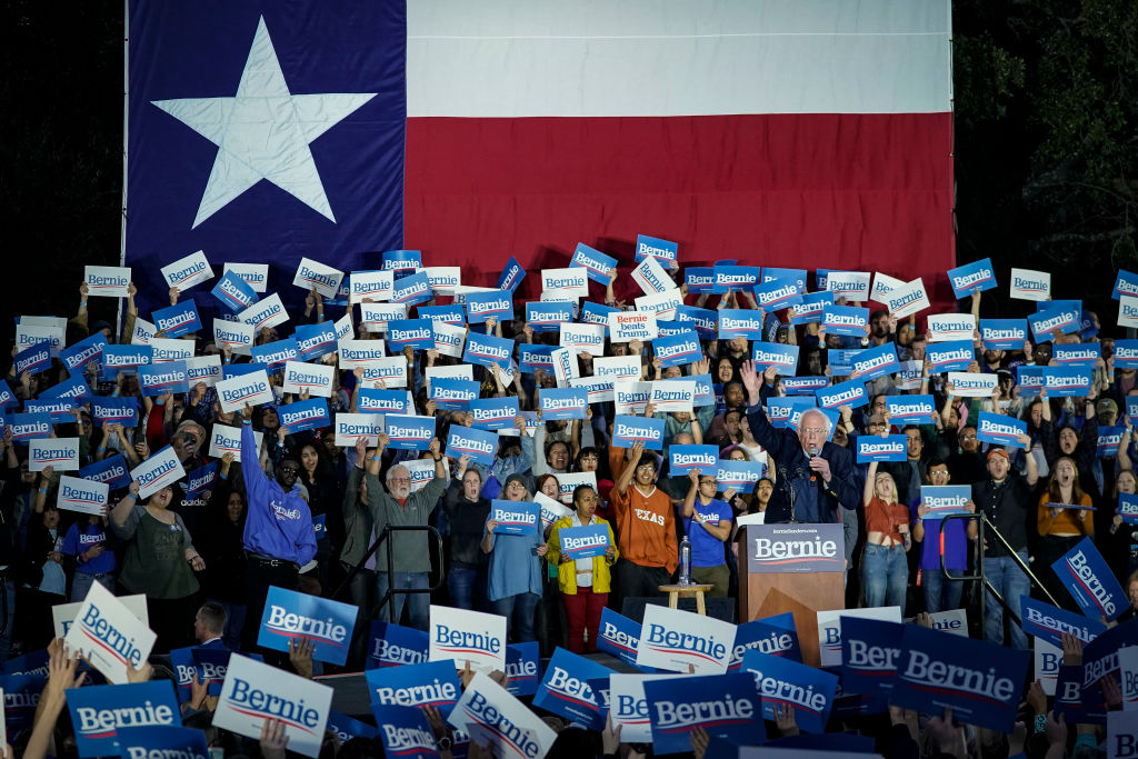 Democratic presidential candidate Sen. Bernie Sanders (I-VT) speaks during a campaign rally at Vic Mathias Shores Park in Austin, Texas, on February 23, 2020.