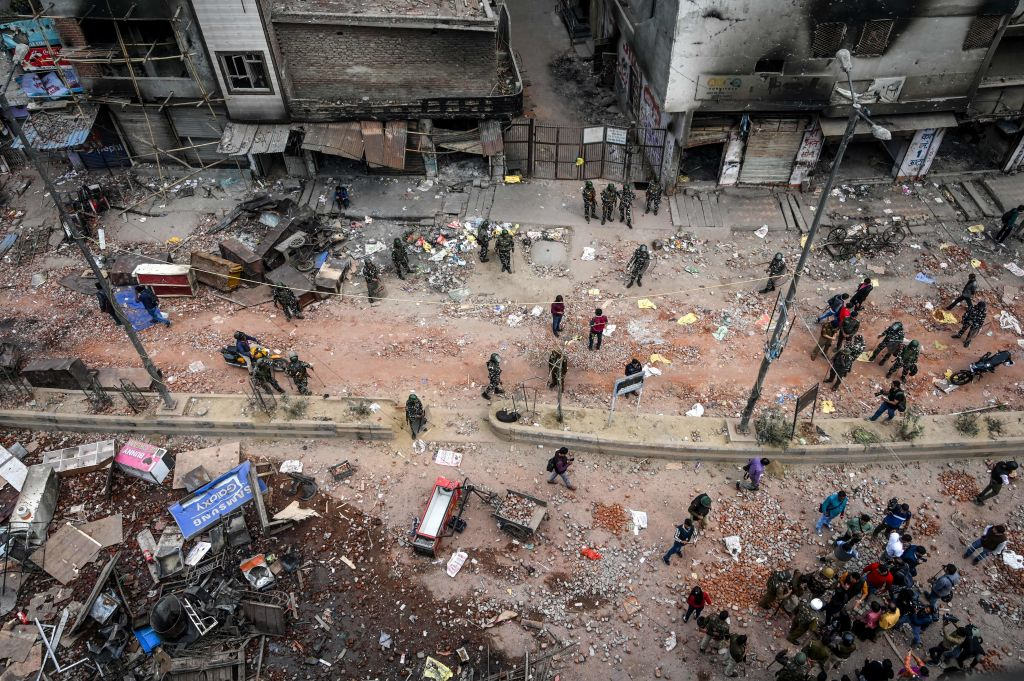 A general view of the riot-hit in New Delhi on February 27, 2020.