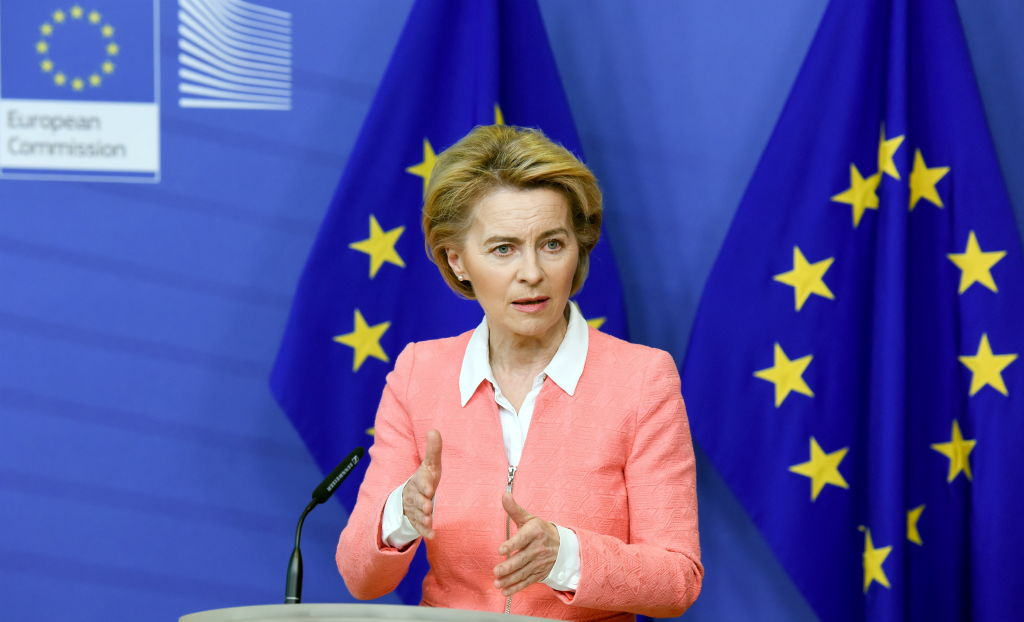 European Commission President Ursula Von der Leyen, speaks about announcement of a new EU climate deal to the press at the European Commission in Brussels, Belgium on March 4, 2020.