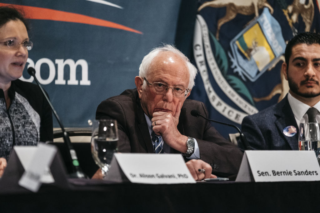 Senator Bernie Sanders, an Independent from Vermont and 2020 presidential candidate, listens during a coronavirus public health roundtable in Romulus, Michigan, on March 9, 2020.