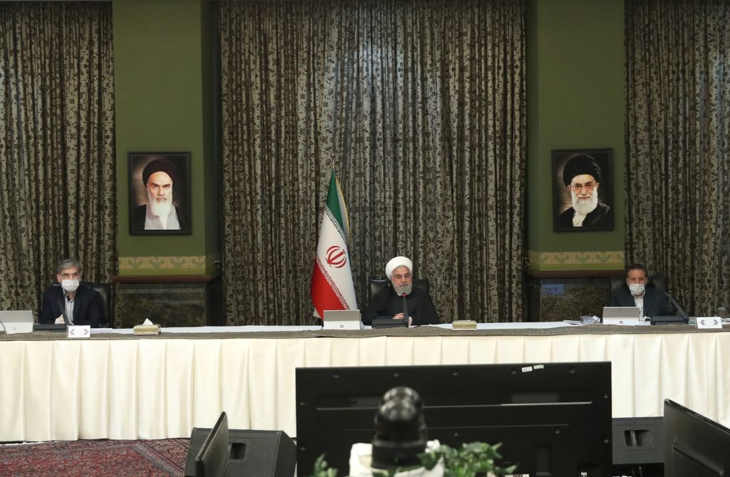 Iranian President Hassan Rouhani, center, makes a statement on coronavirus at the cabinet meeting in Tehran, Iran, on March 11, 2020.