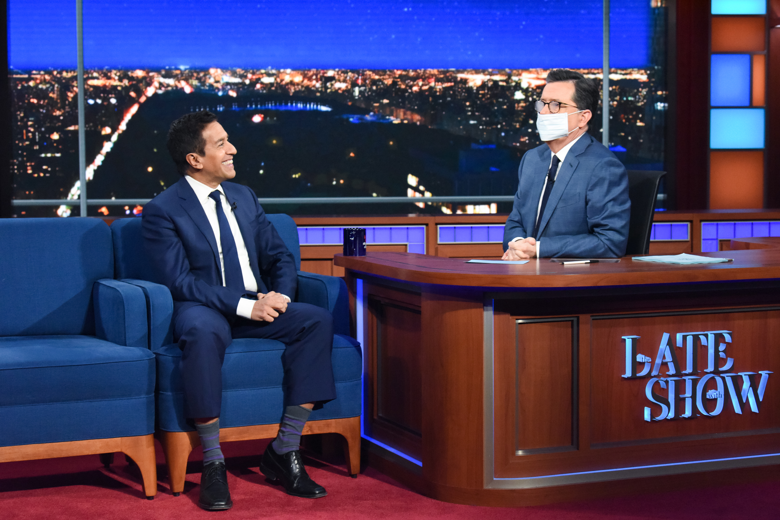 'The Late Show with Stephen Colbert' and guest Dr. Sanjay Gupta during the March 12, 2020 show.