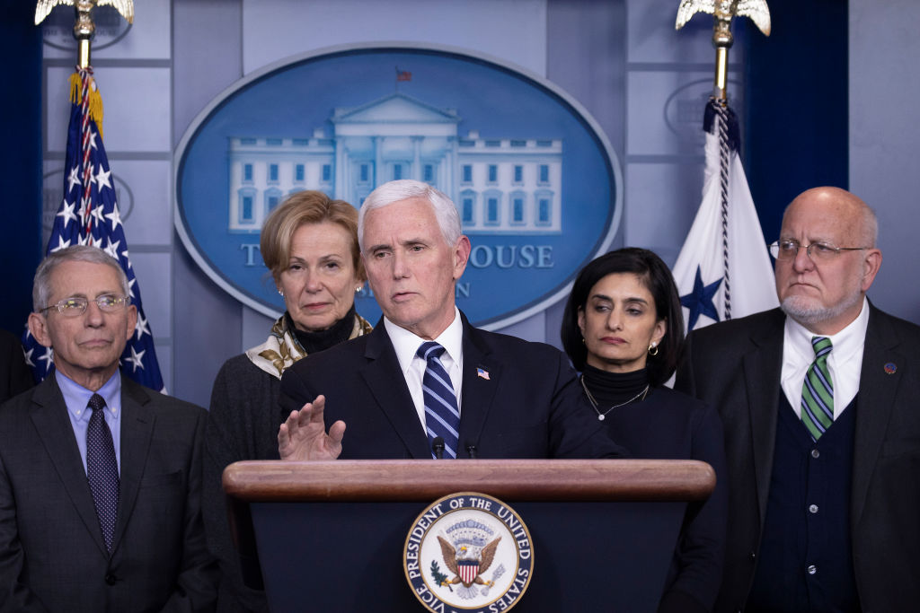 Vice President Mike Pence speaks during a briefing on the Trump administration's coronavirus response in at the White House on March 04, 2020