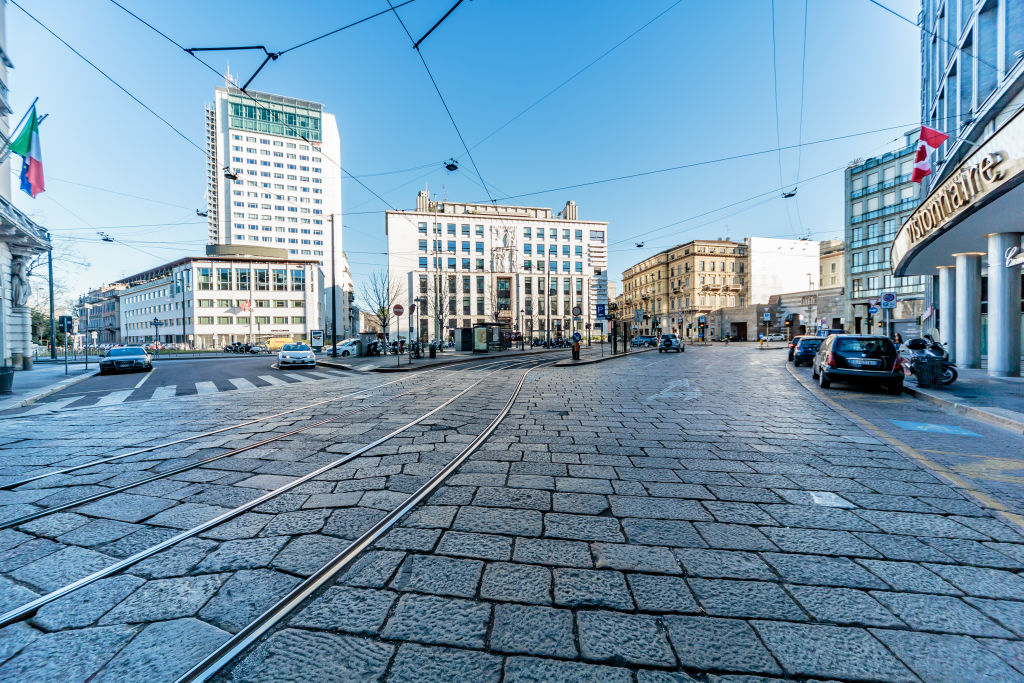 General view at the Piazza Cavour during the emergency coronavirus measures imposed by Italy to tackle the coronavirus (Covid-19) outbreak on March 11, 2020 in Milan, Italy.