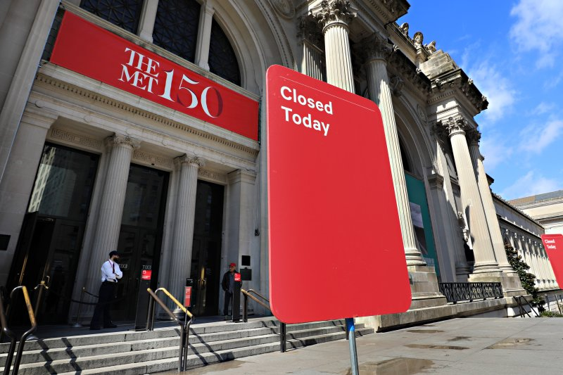 A closed sign is seen outside of The Metropolitan Museum of Art on March 13, 2020 in New York City.