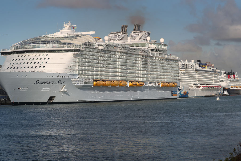 Royal Caribbean Symphony of the Seas Cruise ship is seen docked at Port Miami after returning from an Eastern Caribbean cruise as the world deals with the coronavirus outbreak on March 14, 2020 in Miami, Florida.
