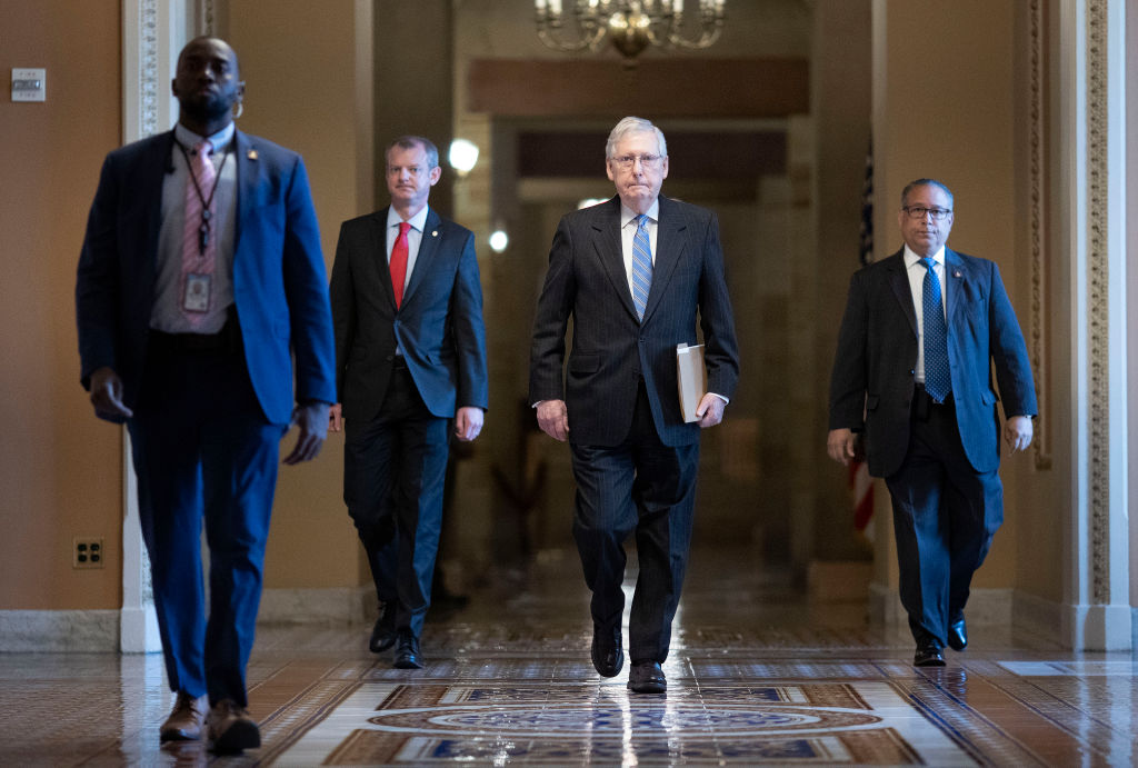 U.S. Senate Majority Leader Mitch McConnell (R-KY) walks from his office to the Senate floor at the U.S. Capitol in Washington, DC., on March 18, 2020.