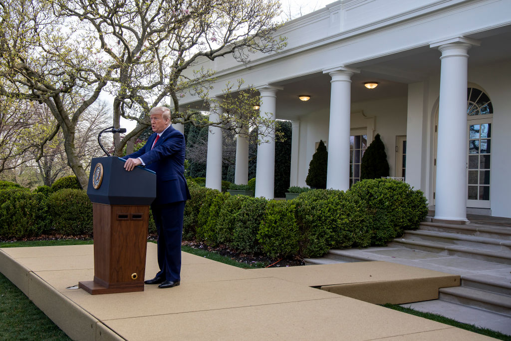 U.S. President Donald Trump speaks in the Rose Garden for the daily coronavirus briefing at the White House in Washington, DC, on March 29, 2020