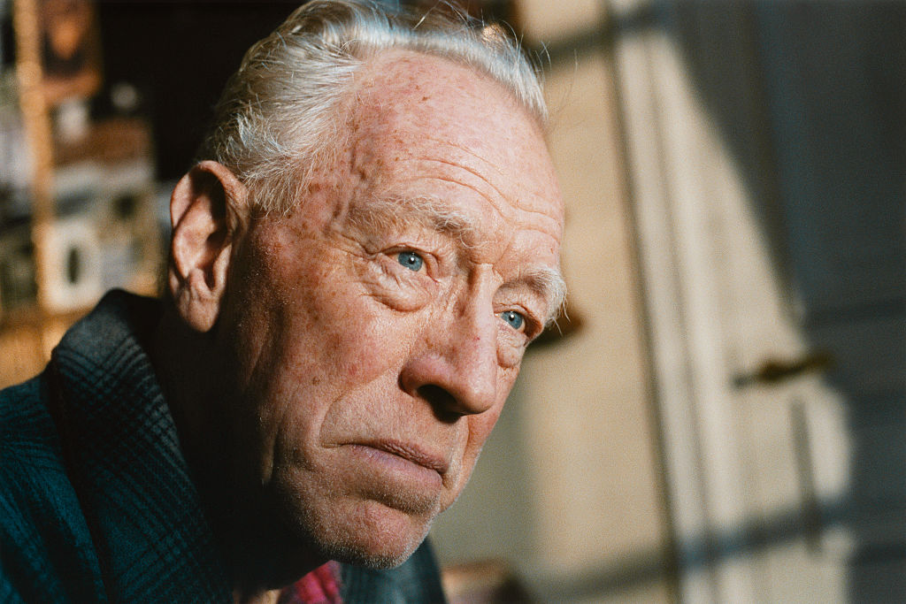 Swedish actor Max von Sydow on the set of the film  Le Scaphandre et le Papillon  (The Diving Bell and the Butterfly), directed by American artist, painter and director Julian Schnabel and based on the Jean-Dominique Bauby novel by the same title.