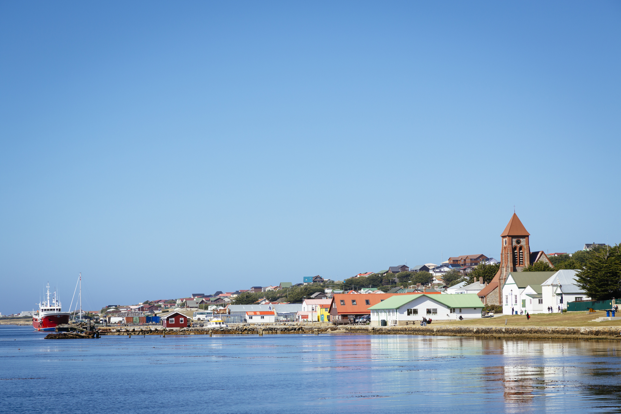 The waterfront at Stanley, the capital of the Falkland Islands.