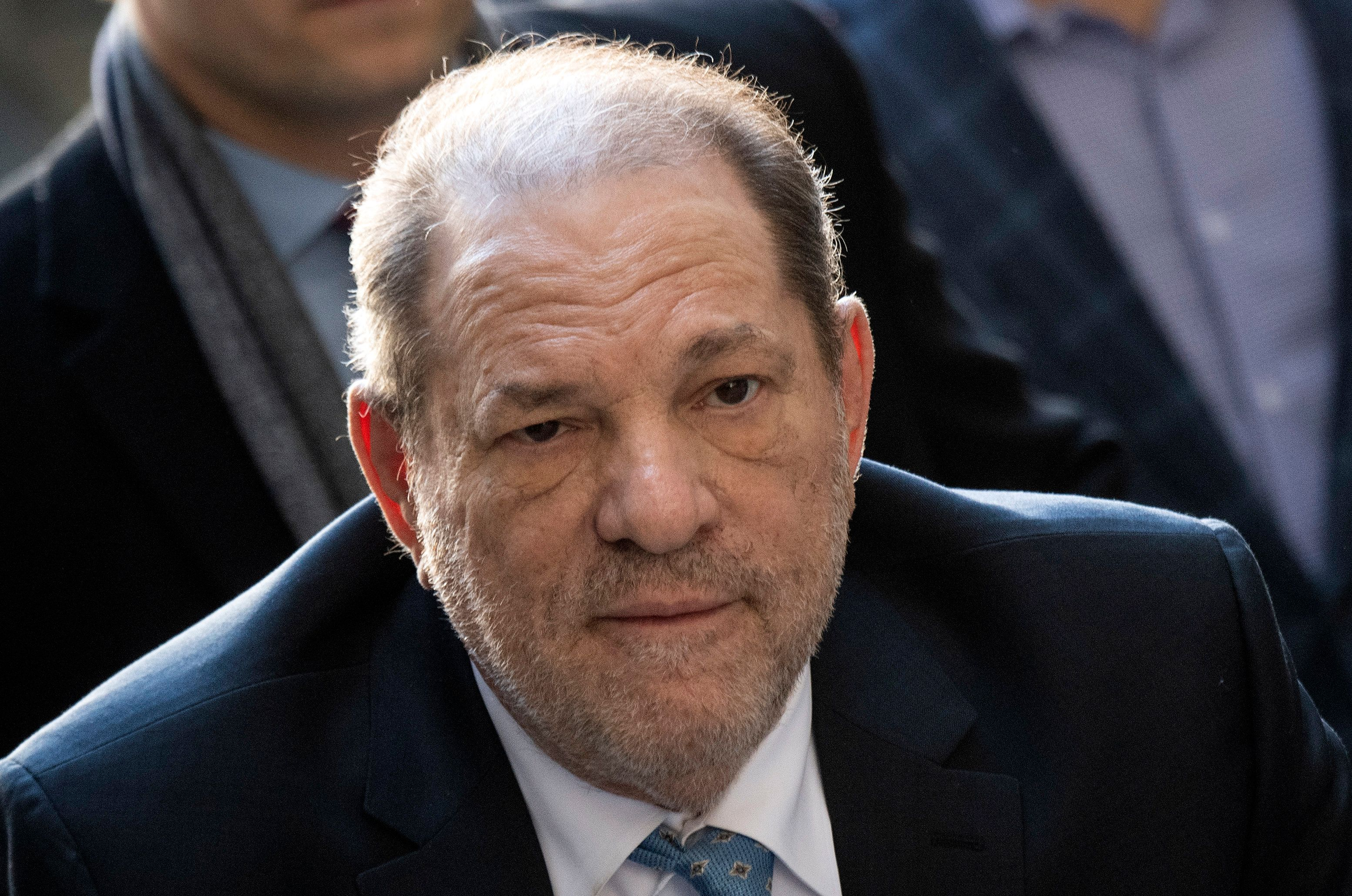 Harvey Weinstein at the Manhattan Criminal Court in New York, where he was convicted of rape, on February 24, 2020.