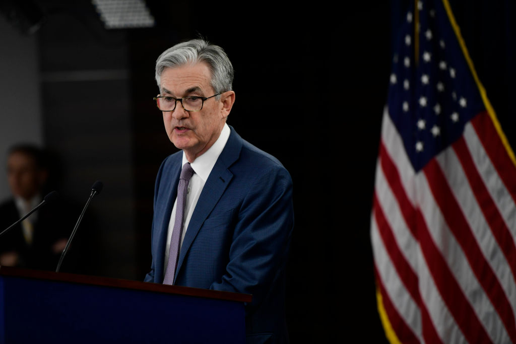 Federal Reserve Chair Jerome H. Powell announces a half percentage point interest rate cut during a speech in Washington, DC on March 3, 2020.
