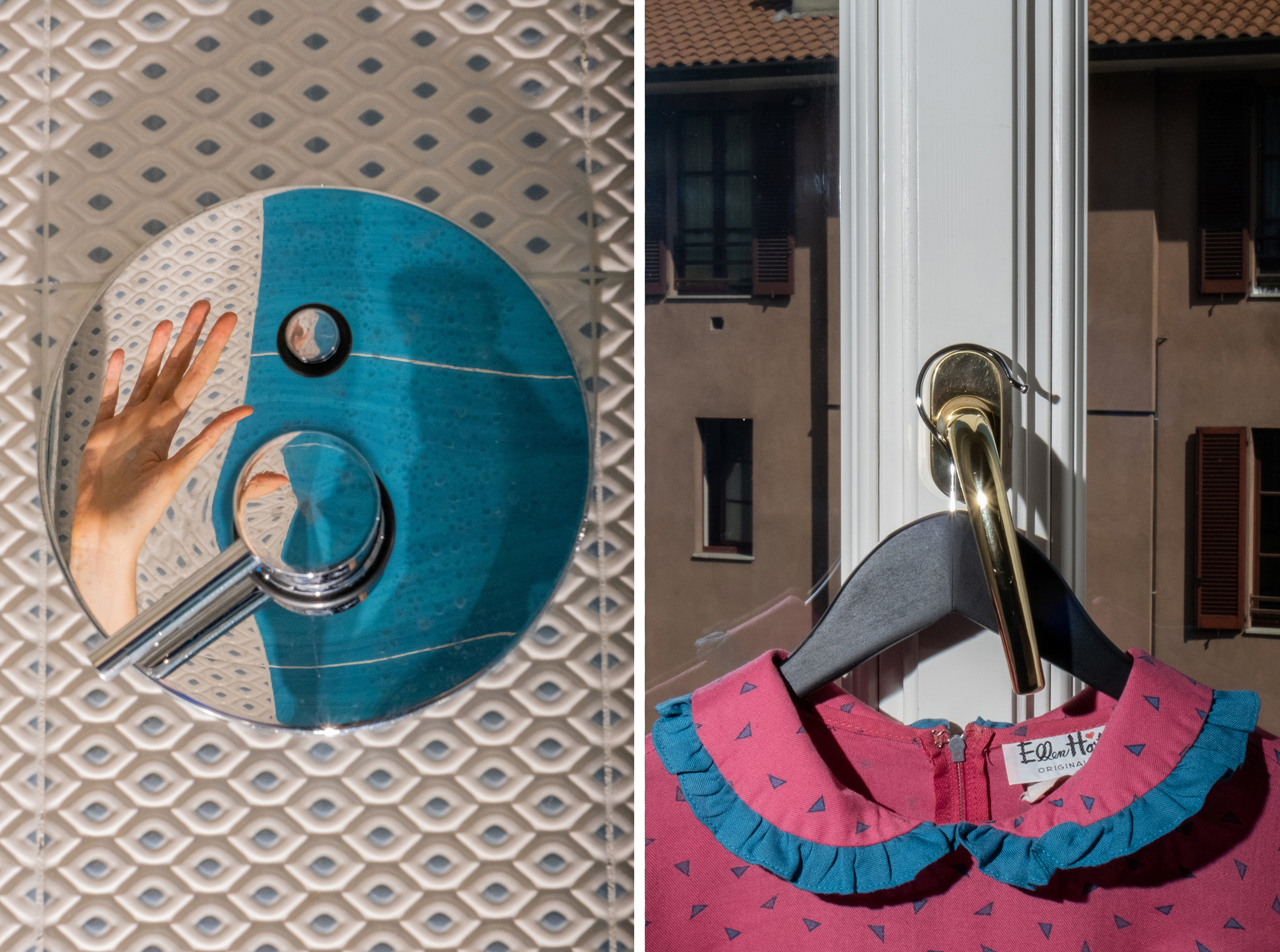 Left: 11:50 A.M. Bathroom details; Right: 12:36 P.M. Detail of a dress on the bedroom window