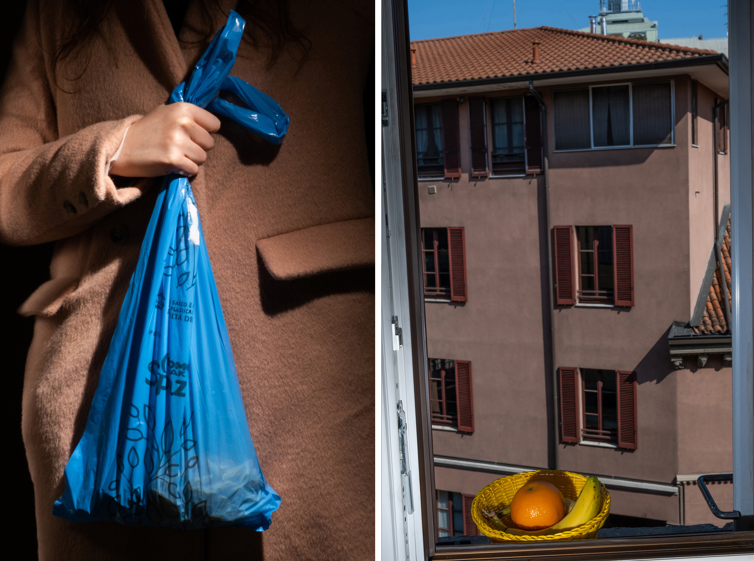 Left: 2:50 P.M. A bag of trash; Right: 12:15 P.M. Fruit on the window