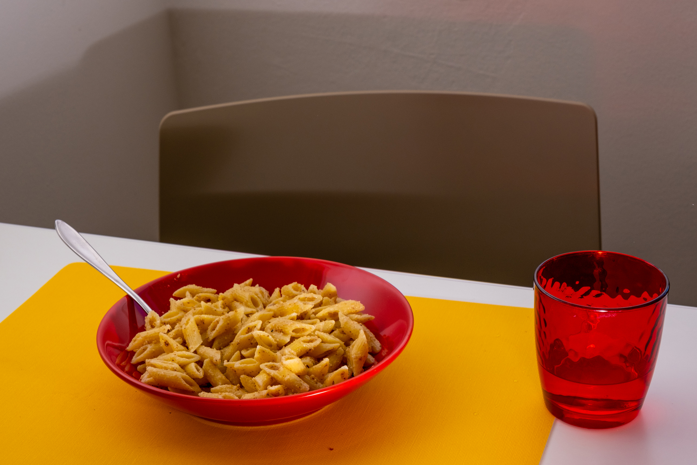 2:20 P.M. Eating pasta
