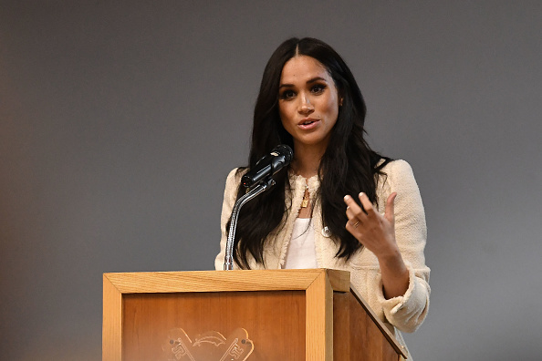 Meghan, Duchess of Sussex speaks during a special school assembly at the Robert Clack Upper School in Dagenham ahead of International Women's Day on March 6, 2020 in London, England.