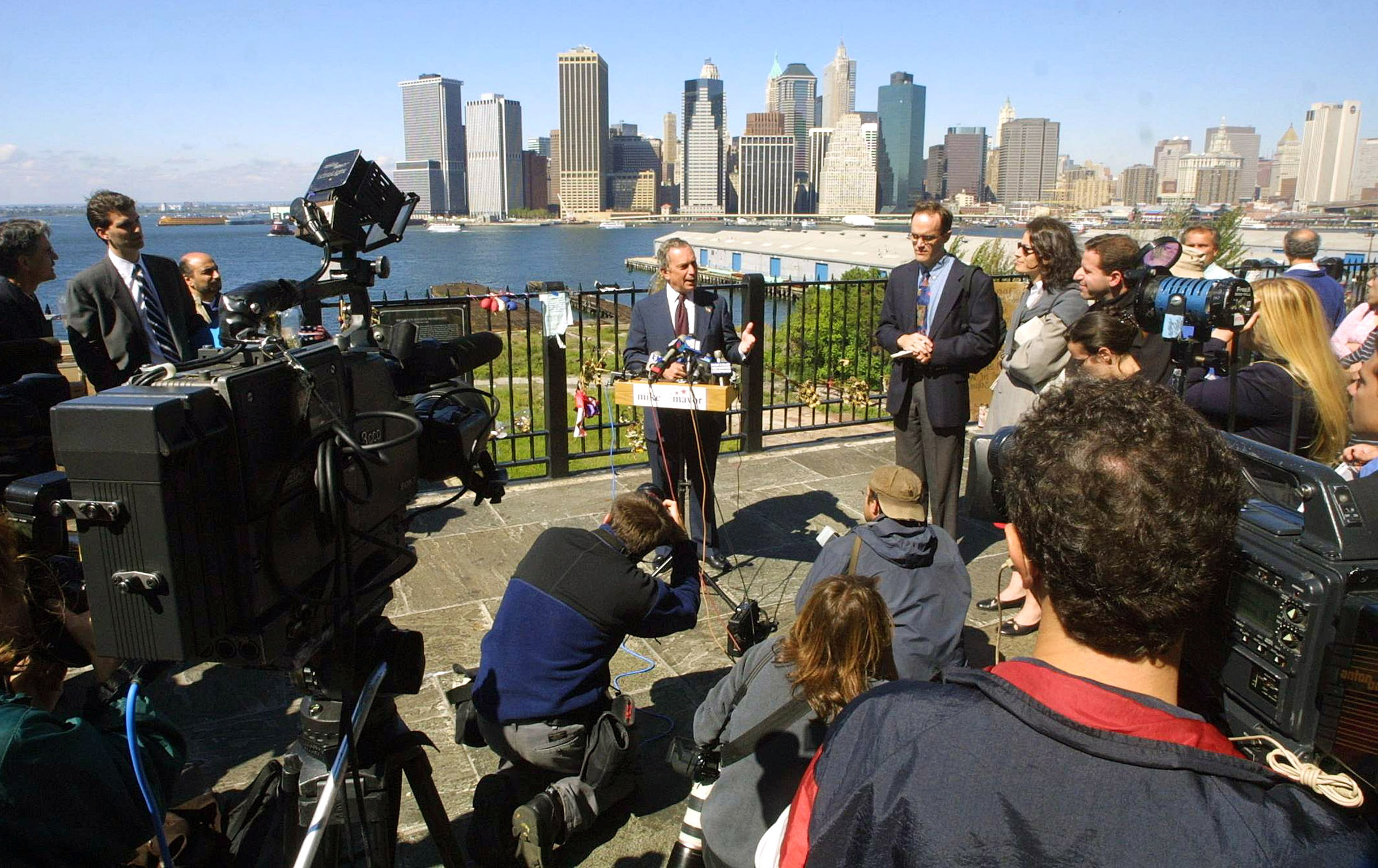 Bloomberg, then a New York City Republican mayoral candidate, speaks to the media in Brooklyn on Sept. 26, 2001, after winning the Republican primary.