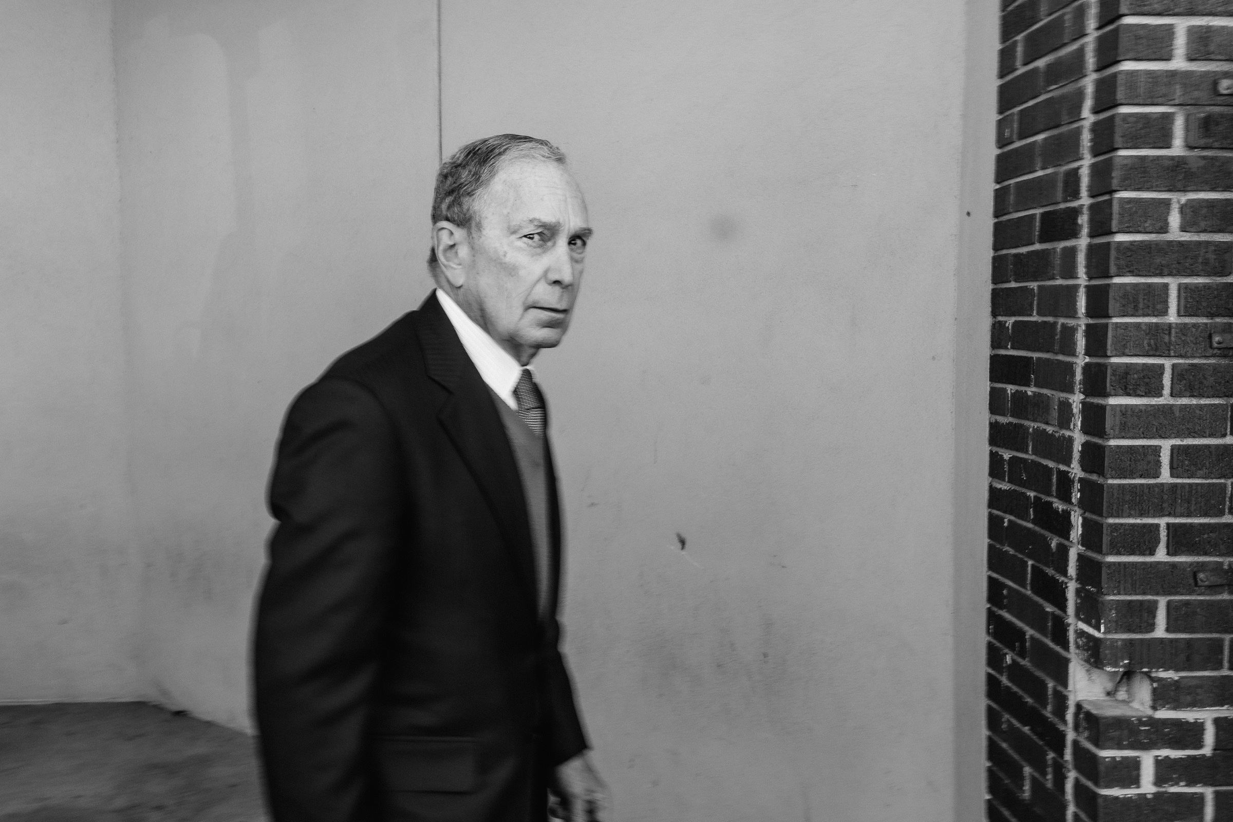 Former New York City Mayor and 2020 presidential candidate Mike Bloomberg leaves a rally in Memphis on Feb. 28.