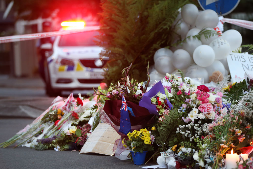 Flowers are left at the Al Noor mosque, one of two mosques targeted in a shooting attack in Christchurch, New Zealand on March 17, 2019.