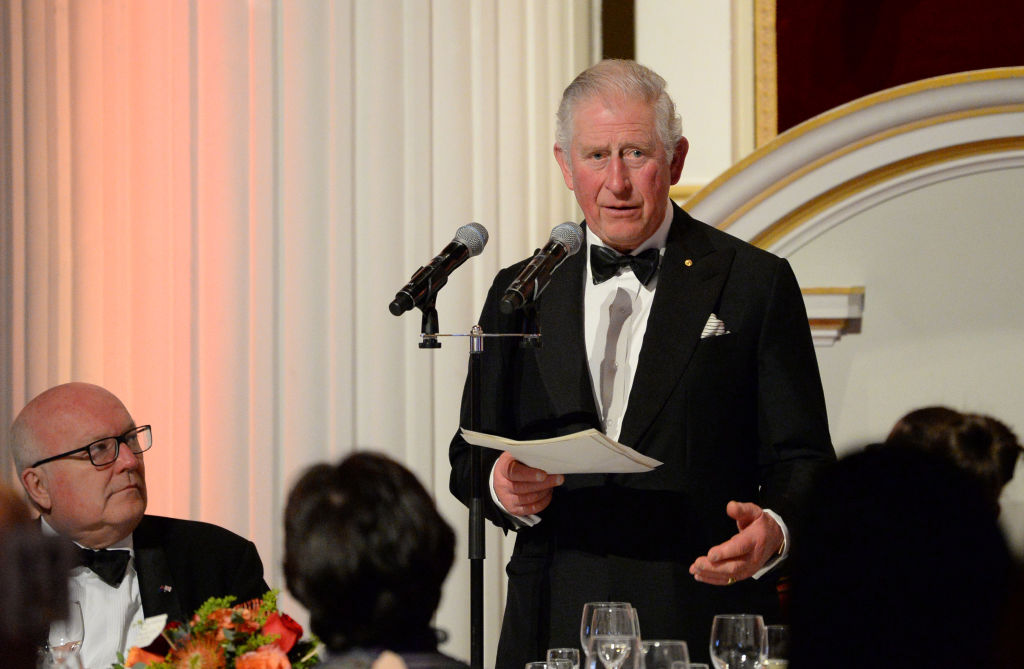 Prince Charles, Prince of Wales makes a speech as he attends a dinner in aid of the Australian bushfire relief and recovery effort at Mansion House on March 12, 2020 in London, England.