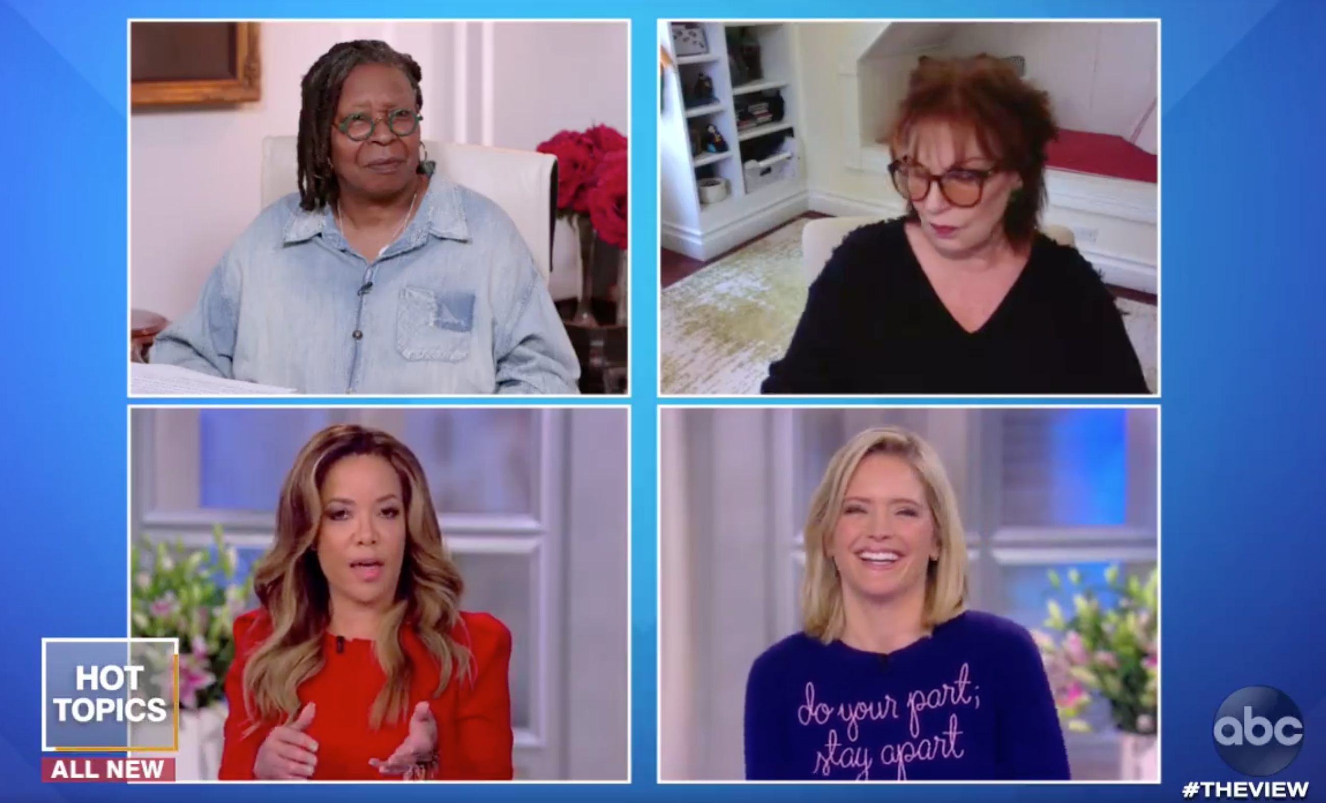 Clockwise from top left: Whoopi Goldberg, Joy Behar, Sarah Haines and Sunny Hostin on ABC's 'The View,' March 23, 2020