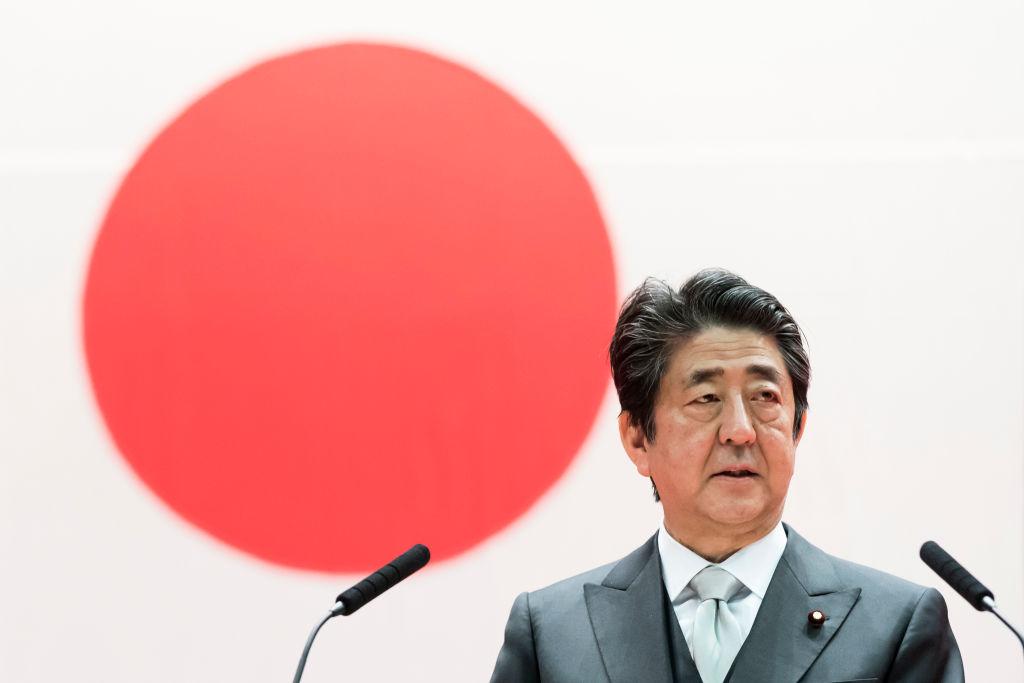 Japan's Prime Minister Shinzo Abe  speaks during the graduation ceremony of the National Defense Academy on March 22, 2020 in Yokosuka, Japan.
