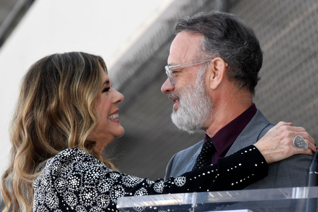 Rita Wilson and Tom Hanks embrace as Wilson is honored with a star on the Hollywood Walk of Fame on March 29, 2019 in Hollywood, California.