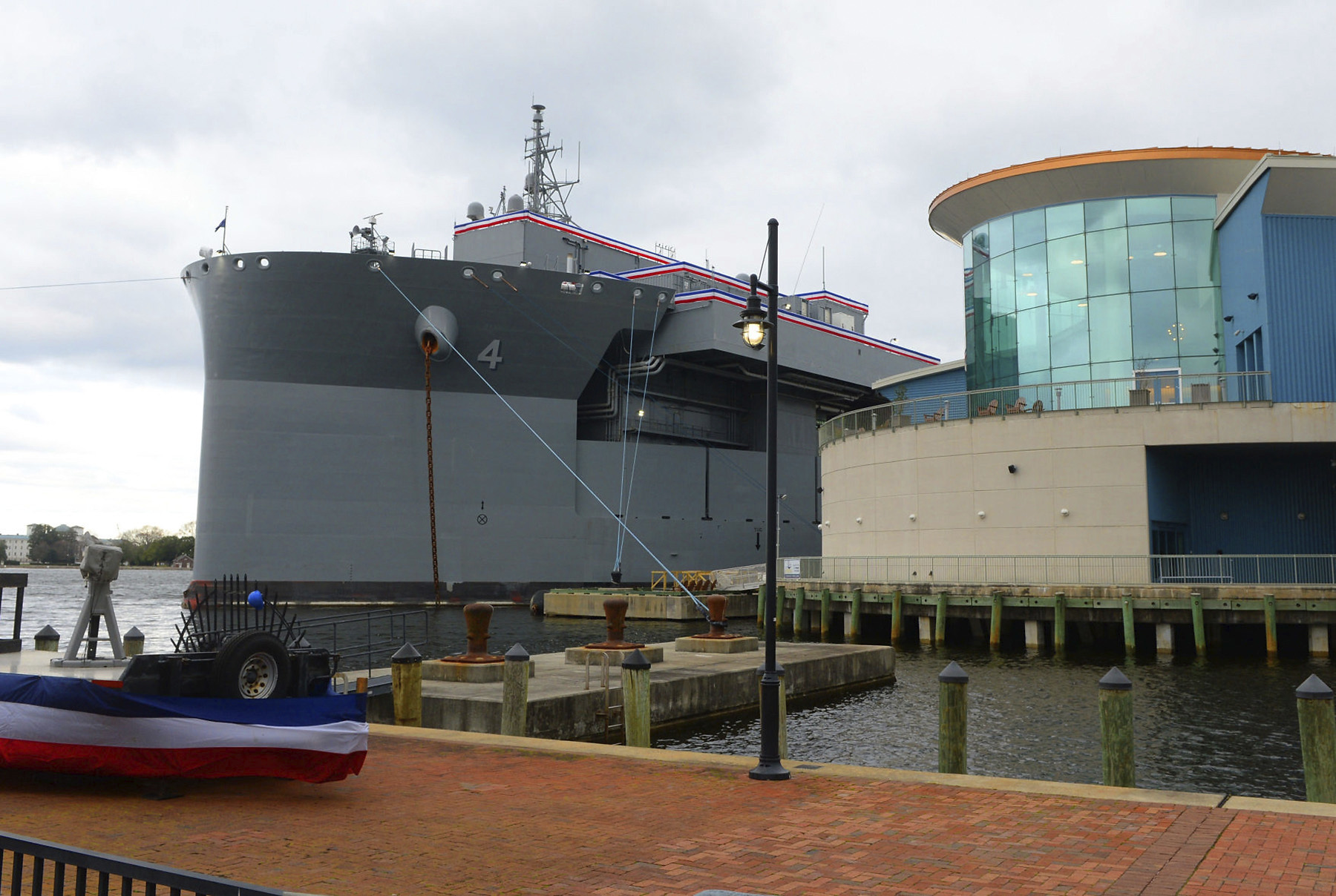 The U.S.S. Hershel Woody Williams in port at Norfolk, Va. for the commissioning ceremony Saturday, March 7, 2020.