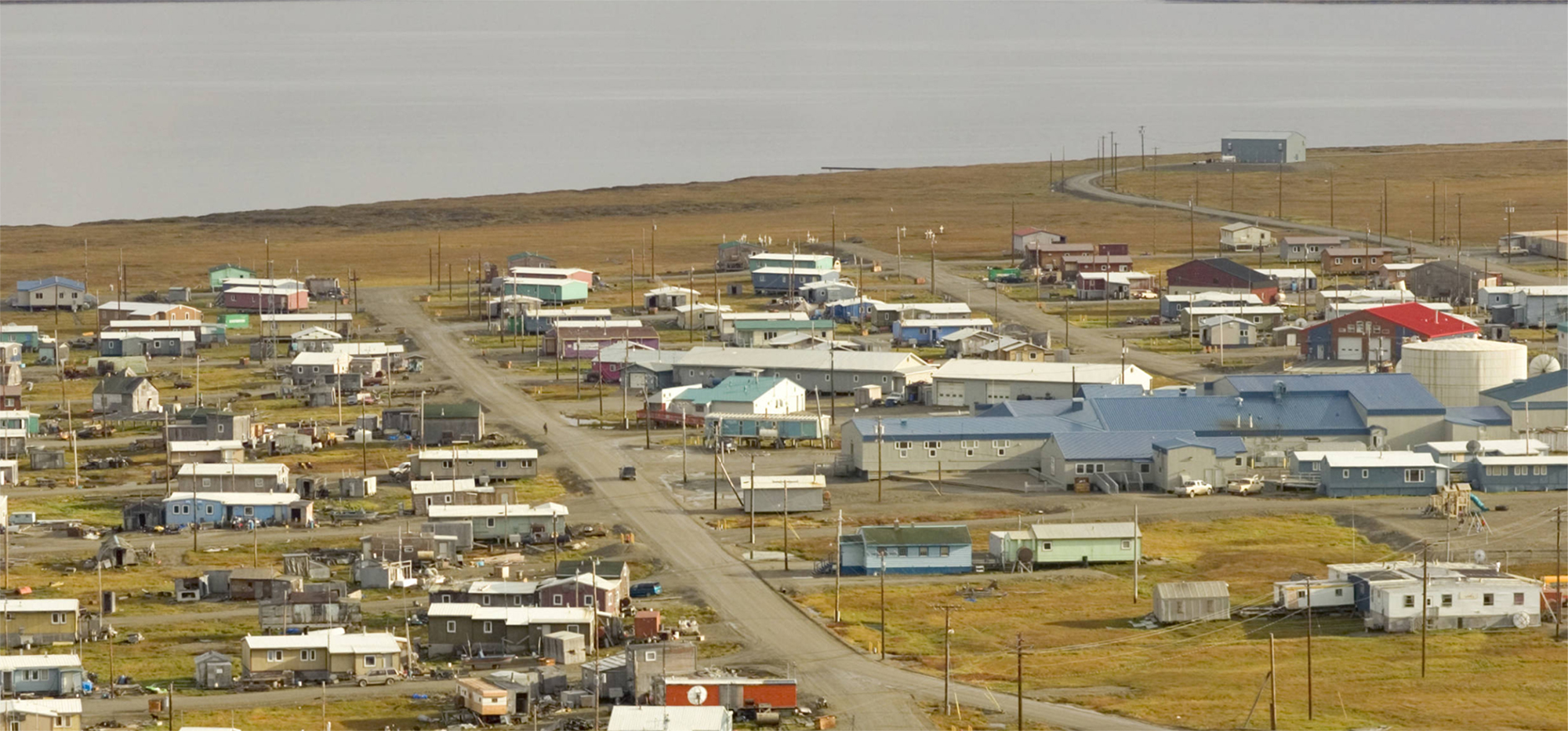 A village along the coast of the Arctic National Wildlife Refuge in Alaska.