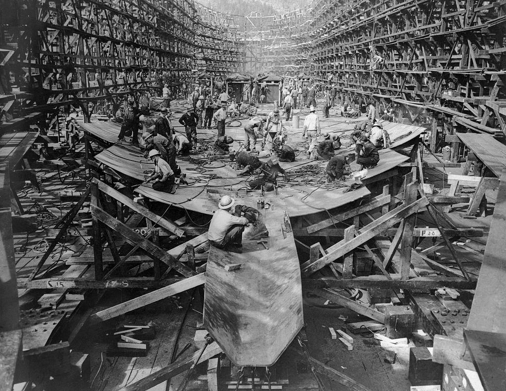 Henry J. Kaiser's shipbuilders begin the 10-day construction of the Joseph N. Teal ship in September 1942  in Portland, Ore.