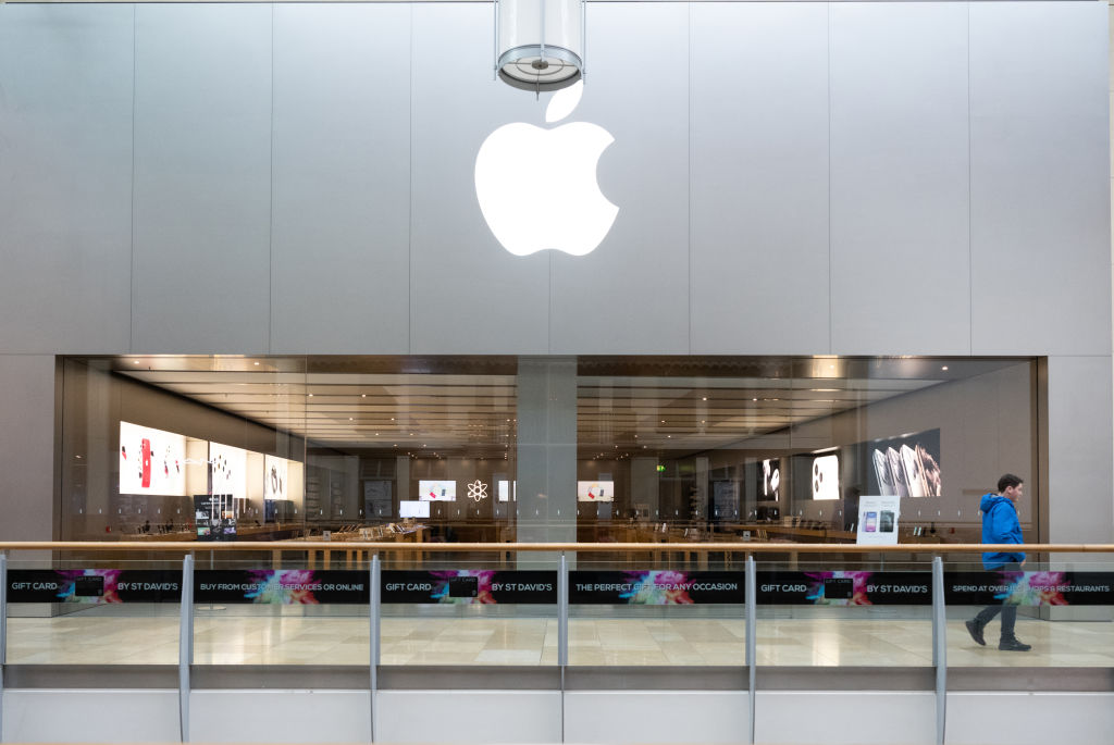 A general view of the Apple store on March 14, 2020 in Cardiff, United Kingdom.